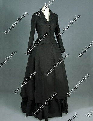 Victorian Steampunk Sherlock Holmes Black Winter Coat Dress Clothing C002 XXXL
