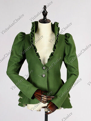 Victorian Vintage Forest Green Christmas Holiday Blazer Jacket Clothing C031 XL