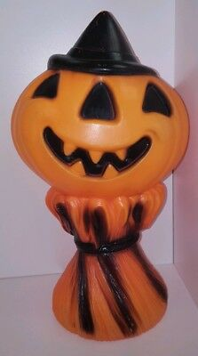 Vintage 1969 Empire Halloween Jol Haystack Plastic Blow Mold Light-Up Pumpkin