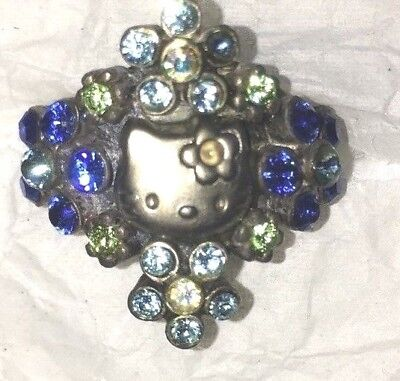 Sanrio HELLO KITTY silver with Blue Rhinestone floral adjustable ring ADULT
