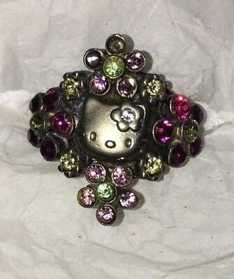 Sanrio HELLO KITTY silver with PINK Rhinestone floral adjustable ring ADULT