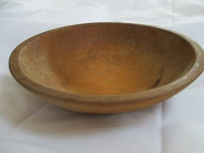 "Vintage Wood Wooden Mixing Dough Farmhouse Bowl 10.5"" Wide 3"" Tall Primitive"