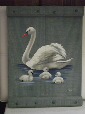 Hand Painted Signed Swan Picture On Wood Rustic