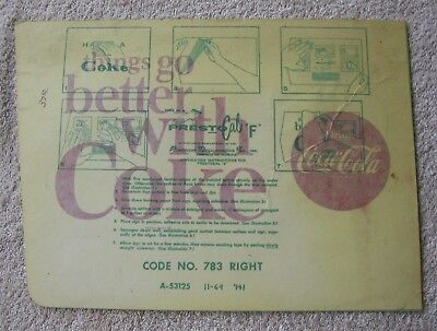 Vintage 1964 Things Go Better With Coke Prestocal F Coca-Cola Decal Sign 783