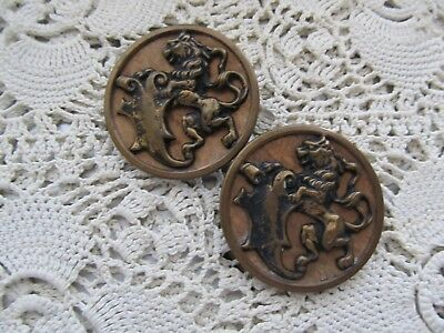 Antique/ Vintage Lot/pair Large Goldtone Metal Mythical Lion Buttons