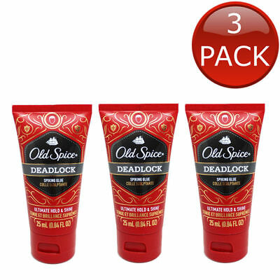 3 x OLD SPICE DEADLOCK SPIKING GLUE HAIR GEL TRAVEL MINI STYLING GROOM MEN 25mL