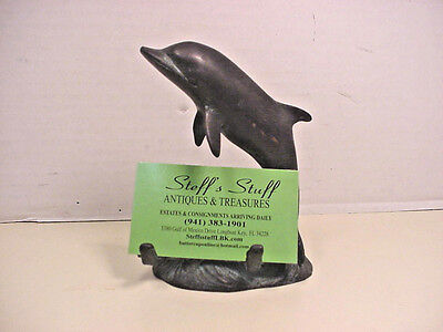 Dolphin Business Card Photo Holder Bronze Verdi Gris Nautical Beach Coastal
