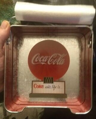 Coca Cola Napkin Holder. Metal with wood weight Coke