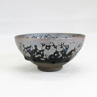 H977: Chinese porcelain cup of popular TENMOKU glaze with appropriate work.