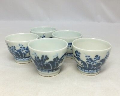 G209: Chinese five teacups of fine blue-and-white porcelain of appropriate work