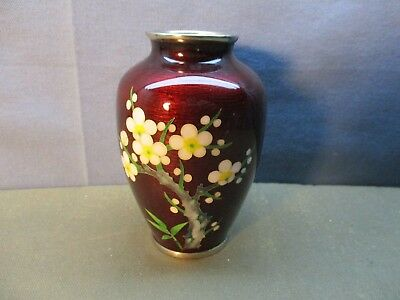 Beautiful Japanese Cloisonne Red Vase w/ Flowers  & Silver ends