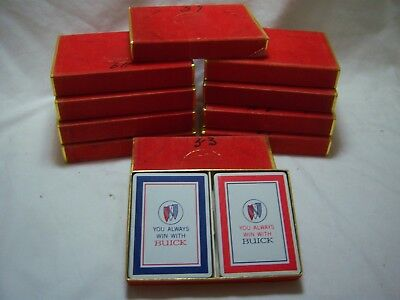 Vintage GM Buick Playing Cards You Always Win With Buick Red Blue 2 Decks 1960's