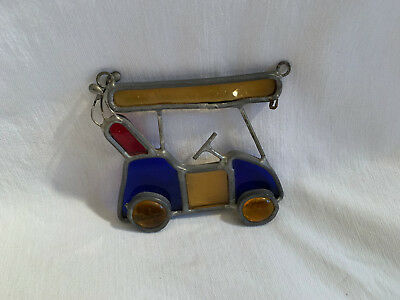 Vintage Suncatcher Leaded Stained Glass Golf Cart