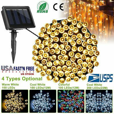 Solar Powered 100 LEDs String Fairy Tree Light Outdoor Wedding Party Christmas