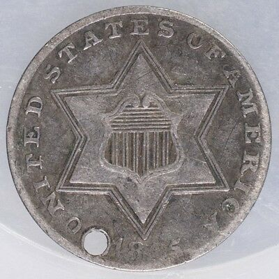 1855 Three Cent Nickel Fine holed