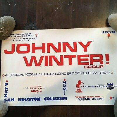 Vintage Johnny Winter Concert Poster May 8,1976 Sam Houston Coliseum Leslie West