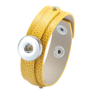Yellow Learher Charms Bracelet Snaps Jewelry For 18mm Snap Button Bracelet