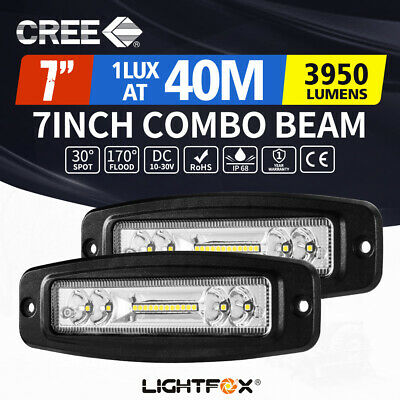 2x 7inch 30W CREE LED Work Driving Light Combo Beam Lamp Flush Mount Reverse 4WD
