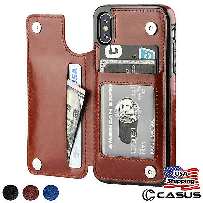 Leather Wallet Magnetic Flip Cover Thin Slim Case For iPhone XS MAX XR