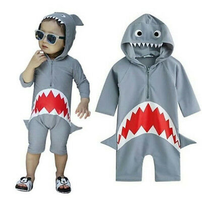 Newborn Toddler Baby Boy 3D Shark Hooded Romper Bodysuit Jumpsuit Outfit Clothes