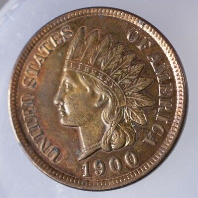 1900 Indian Head Cent AU Prooflike Surfaces, lightly cleaned