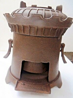 1900 FIRE PIT STOVE COAL BURNING FUEL CI PORTABLE FOLDING  RARE UNCOMMON collect