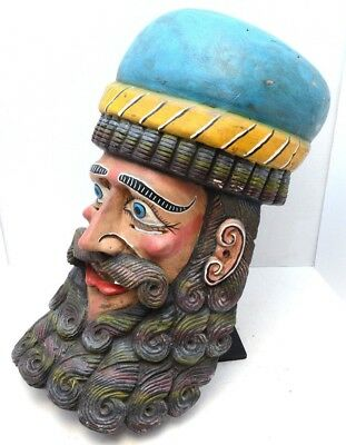 Vintage Wood Carnvial HELMET Dance festival Mask Mexico folk art LARGE Bearded