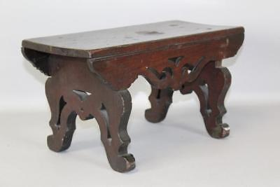 Fantastic Late 18Th C Pa Formal Scrolled Foot Stool In Walnut Original Surface