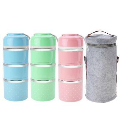 Stainless Steel 1/2/3 Layer Thermal Insulated Bento Food Container Lunch Box Bag