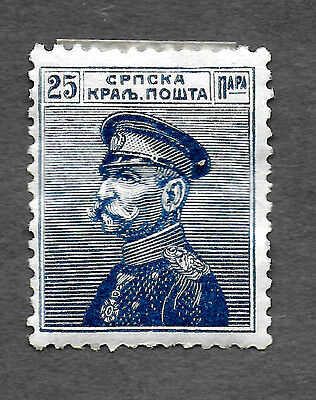 SERBIA 1911 KING PETER I MH/OG 25Pa BLUE (Free S&H in US only)