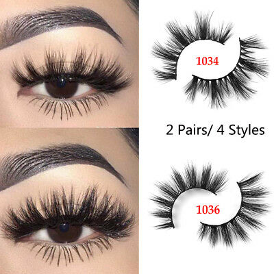 UK SKONHED 2 Pairs 3D Mink Hair Wispy False Eyelashes Natural Long Glam Lashes