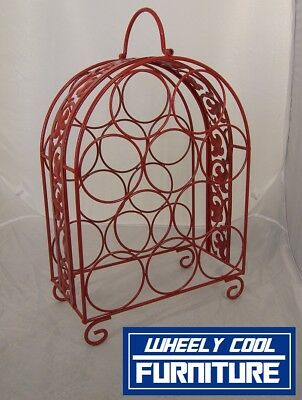 WINE RACK - 10 BOTTLES -  in DULUX FLAME RED - Wheely Cool Furniture