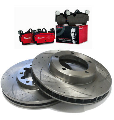 SLOTTED DIMPLED Front 294mm BRAKE ROTORS x 2 BREMBO PADS SUBARU WRX G3 05~13