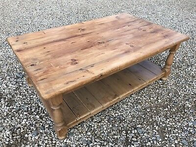 Attractive Solid Chunky Pine Low 2 Tier Plank Coffee Table  Sturdy And Solid.