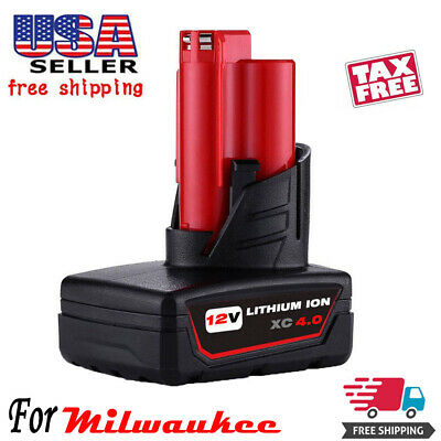 12V Replace For Milwaukee 48-11-2460 M12 48-11-2440 LITHIUM ION XC 4.0Ah Battery