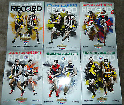 2018 Afl Finals Series Footy Records Magazines Collingwood Richmond West Coast