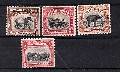North Borneo 1909-23 Mounted Mint Selection of 4 Stamps to 8c