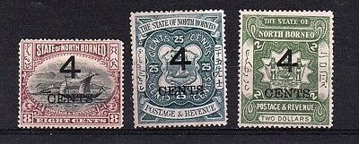 North Borneo 1899 4c Overprints Selection of 3 Stamps to $2 Mounted Mint