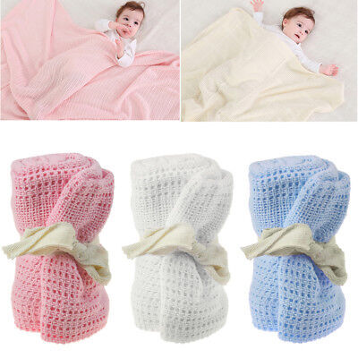 100% Cotton Cellular Soft Baby Blanket for Cot Pram Moses Basket 70x90cm Newborn