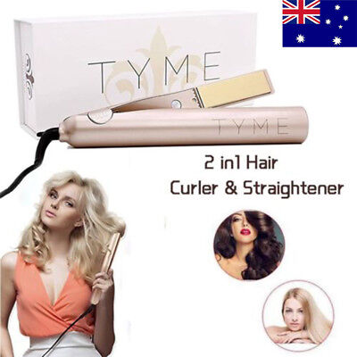 Hair Styler  Iron 2 in 1 Hair Straightening Curling Gold Plated Titanium