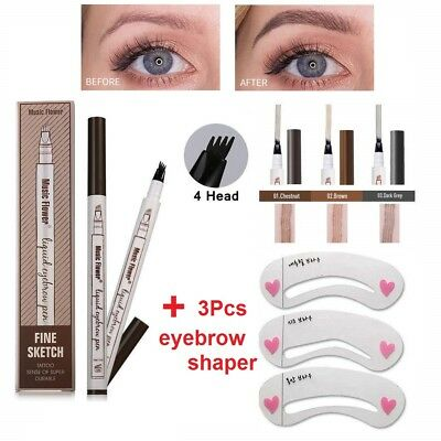 Eyebrow Microblading Tattoo Ink Pen Cosmetic Waterproof 4 Fork Tip Brow Make-Up