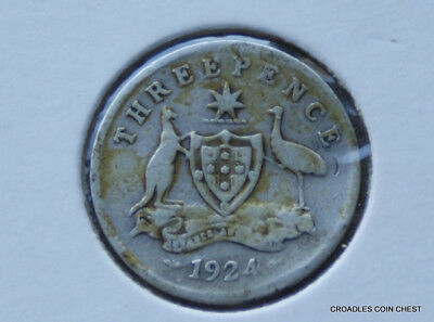 1924 Silver Threepence Advance  Part Readable Predecimal Buckled?  Coin #gjb10