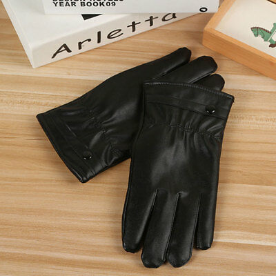 Mens Leather Gloves Black Touch Screen Gloves Fashion Brand Winter Warm Mittens