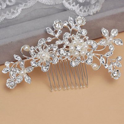 Flower Rhinestone Hair Slide Floral Bridal Head Piece Pearl Wedding Hair Comb
