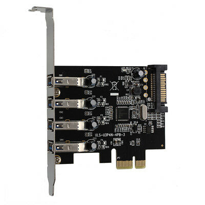 2X(4-Port USB 3.0 SuperSpeed PCI Express Controller-Karte Adapter 4-pin IDEO2E7)