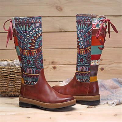 SOCOFY Women's Bohemian Retro Leather Thigh High Wedge Boots Pattern Zip Shoes