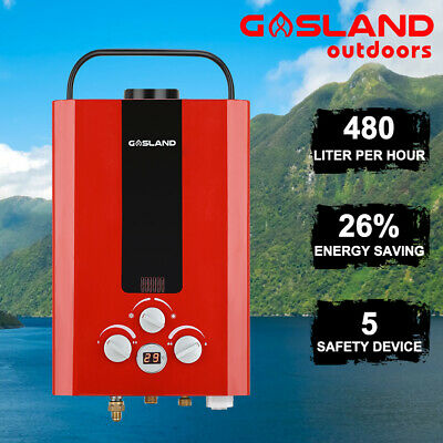 GASLAND Portable Gas Hot Water Heater Outdoor Camping Instant RV Shower Red