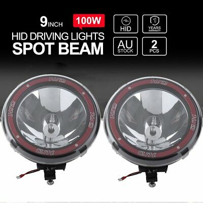 """2x 9INCH 9"""" 100W DRIVING LIGHTS HID XENON SPOT OFF ROAD UTE WORK RED BG"""
