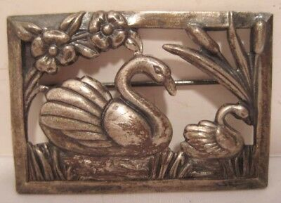 Beautiful Antique Sterling Silver Pin Framed Swans on Pond w Cattails 1930s-40s