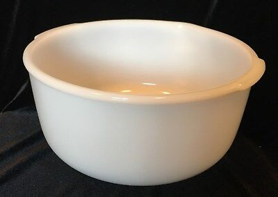 Vintage Glasbake Made for Sunbeam 14  White Milk Glass Mixing Bowl USA 9-1/4""